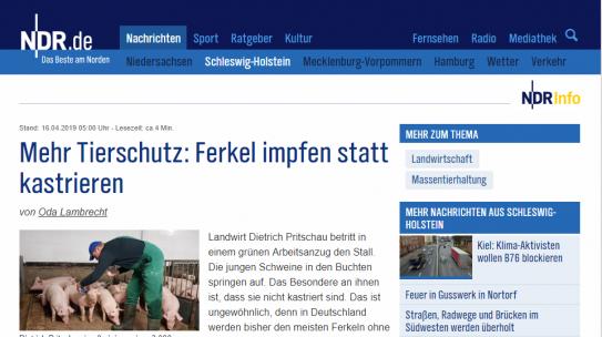 NDR Info: Unsere Position zur Ferkelkastration